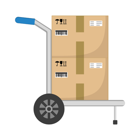 Parcel boxes delivery on hand truck. Brown closed with adhesive scotch tape carton delivery packaging boxes with fragile signs isolated on white background. Delivery service. Vector illustration.