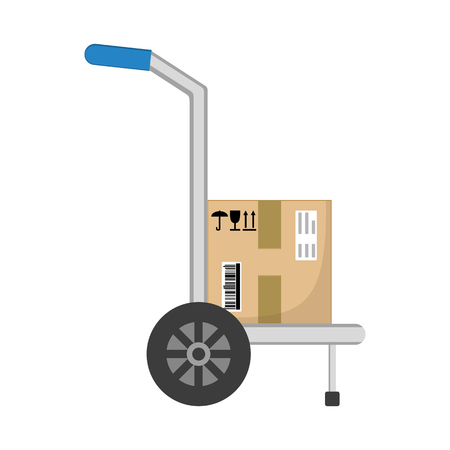 Parcel box delivery on hand truck. Brown closed with adhesive scotch tape carton delivery packaging box with fragile signs isolated on white background. Delivery service. Vector illustration.