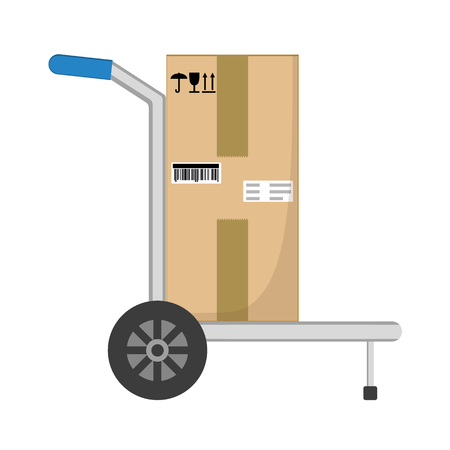 Parcel box delivery on hand truck. Brown closed with adhesive scotch tape carton delivery packaging box with fragile signs isolated on white background. Delivery service.