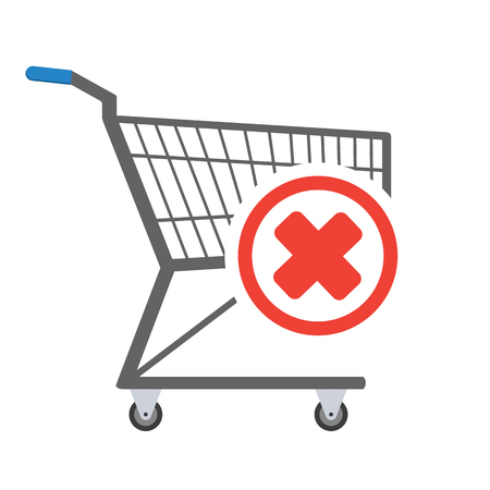 Metal empty shopping trolley with negative check mark sign in circle in the corner. Sign of removal or negative choice. Concept of sign in shopping app. Vector illustration Иллюстрация