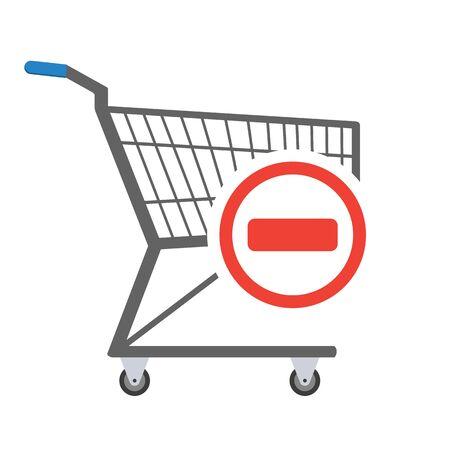 Metal empty shopping trolley with red minus sign in circle in the corner. Sign of removal or negative choice. Concept of sign in shopping app. Vector illustration