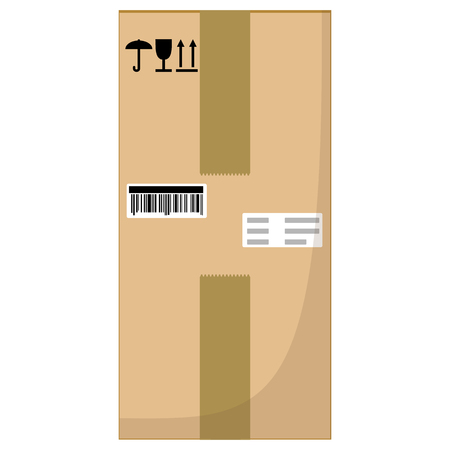 Brown closed with adhesive scotch tape carton delivery packaging box with fragile signs isolated on white background. Raster illustration. Stock Photo