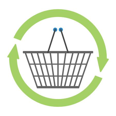 クロムメッキ ワイヤ金属製ダブル ハンドルは、リフレッシュのサークル矢印記号で空のショッピング バスケットを正方形します。ショッピング約