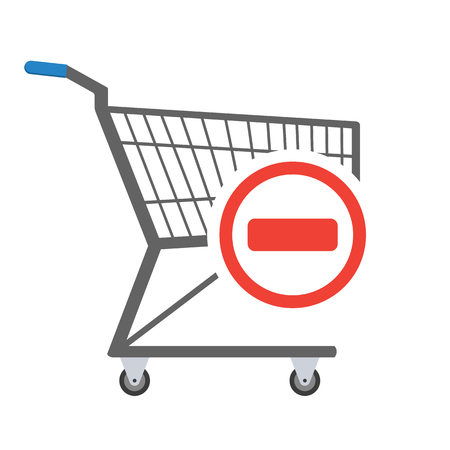 Metal empty shopping trolley with red minus sign in circle in the corner. Sign of removal or negative choice. Concept of sign in shopping app. Raster illustration