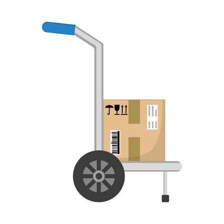 storage box: Parcel box delivery on hand truck. Brown closed with adhesive scotch tape carton delivery packaging box with fragile signs isolated on white background. Delivery service. Raster illustration.