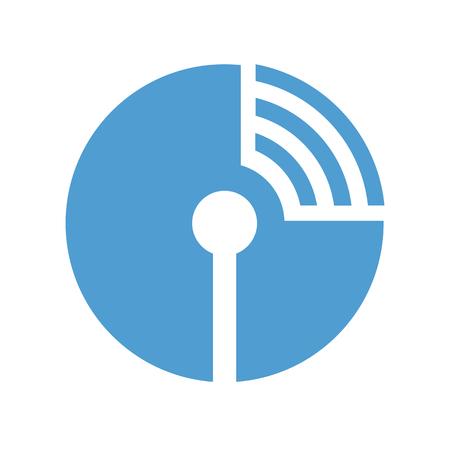 antena: Radio antena with waves in circle icon. Wi-fi symbol. Vector illustration