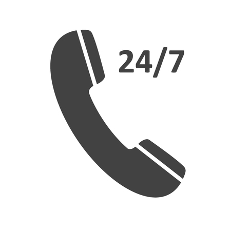 receiver: Phone icon 247, contact, call center, support service sign isolated on white background. Telephone, communication. Vector illustration Illustration