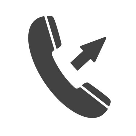 Phone icon with arrow sign isolated on white background. Outgoing call. Telephone icon for mobile app. Raster illustration