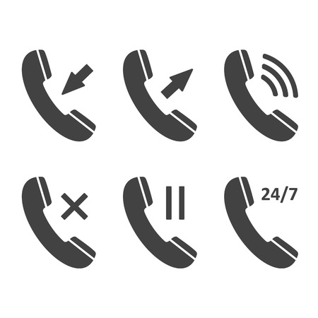 receiver: Phone icon set, contact, call center, support service, incoming, outgoing, pause, cross, 247 signs isolated on white background. Telephone communication and icons for mobile app. Raster illustration