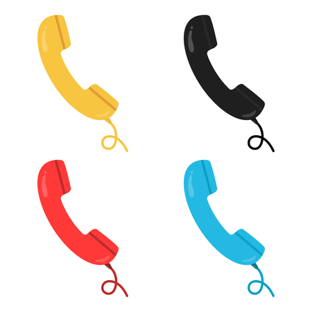 telephone cartoon: Colorful black, yellow, red and blue retro style handsets with wire. Telephone, communication. Raster illustration