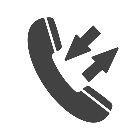 Phone icon with two arrows sign isolated on white background. Outgoing and incoming call. Telephone icon for mobile app. Vector illustration