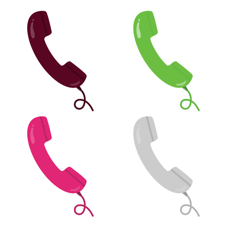 phone cord: Colorful green, white, grey, pink and burgundy retro style handsets with wire. Telephone, communication. Vector illustration