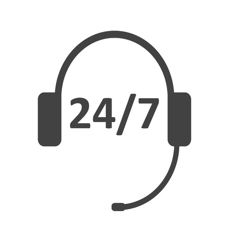 Black headphones garniture with microphone icon. Call center 247 icon. Flat style. Vector illustration Çizim