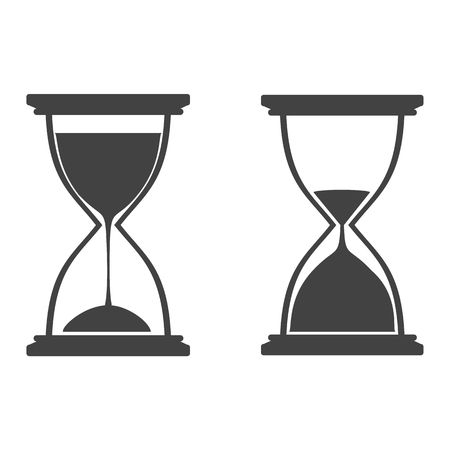 Two hourglasses set. Flat style icons. Vector illustration