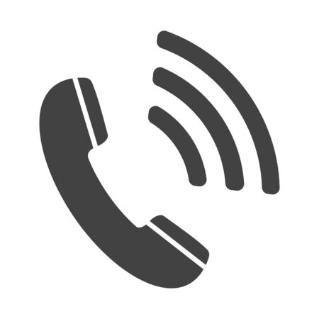 Phone icon, contact, call center, support service sign isolated on white background. Telephone, communication. Vector illustration
