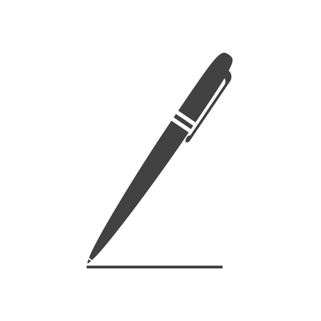 autograph: Classical ballpoint pen drawing the line. Flat style icon. Vector illustration