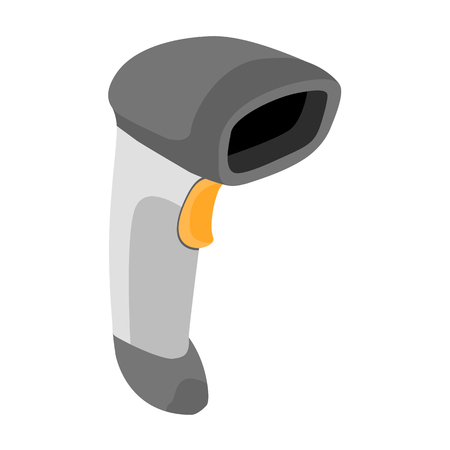 handheld device: Barcode scanner. Hand held bar code scanner icon. Vector illustration Illustration