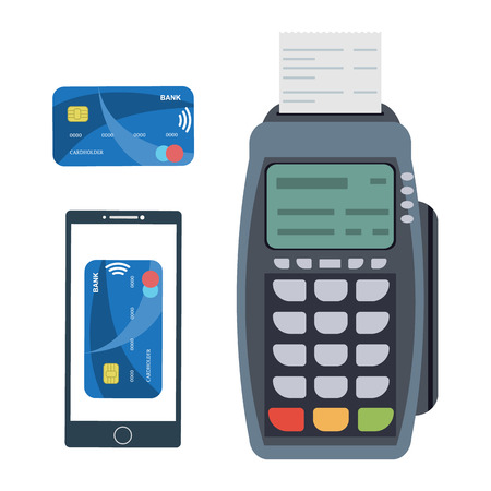 POS terminal. Payment terminal with receipt, smartphone with nfs paywave technology and credit card with paywave. Concept of contactless payment. Banking and business services. Vector illustration Ilustração