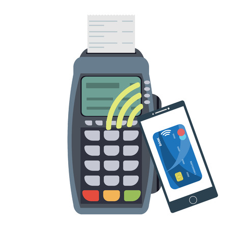 reader: POS terminal. Payment terminal with receipt and smartphone with nfs paywave technology. Process of contactless payment. Banking and business services. Raster illustration Stock Photo