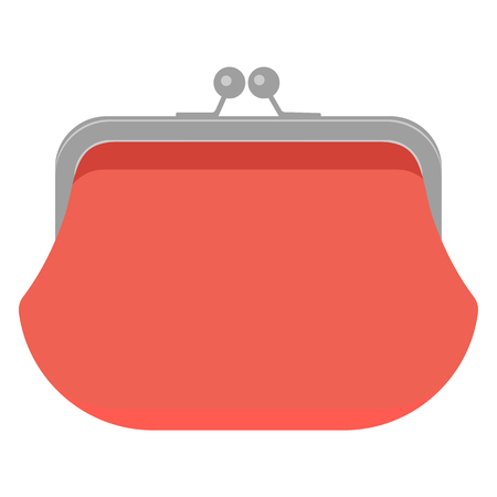 Retro purse with cash. Business and finance symbol. Red. Vector illustration