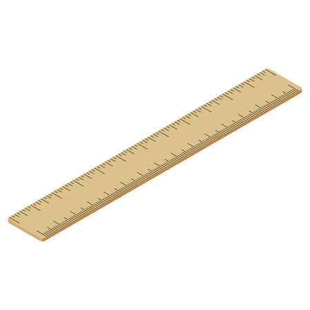 millimeter: Brown wooden ruler. Realistic isometric design. Office supplies stationery. Vector illustration