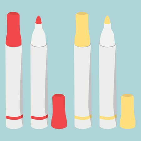 pen and marker: Red and yellow highlighters markers set with lid on turquoise background. Office supplies stationery set. Vector illustration