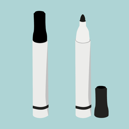 Black highlighters markers set with lid on turquoise background. Office supplies stationery set. Raster illustration Stock Photo