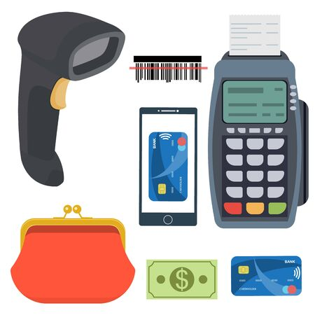 wireless terminals: Payment and banking set. All for business payments: POS payment terminal, barcode scanner, receipt, purse wallet, credit cards, smartphone and contactless paywave payment. Raster illustration