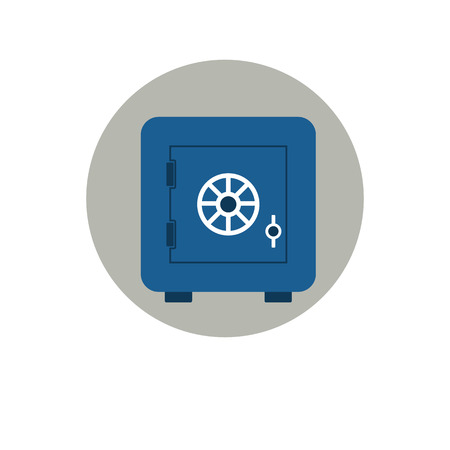 secret codes: Closed classical bank safe. Flat style icon. Vector illustration Illustration