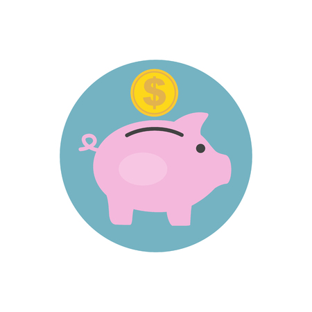 Money box pig with coin inserting in it. Flat style icon. Raster illustration