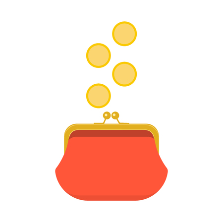 Red closed purse infographics concept. Gold coins raining to open wallet. Golden coins money dropping or falling in purse. Vector illustration Illustration
