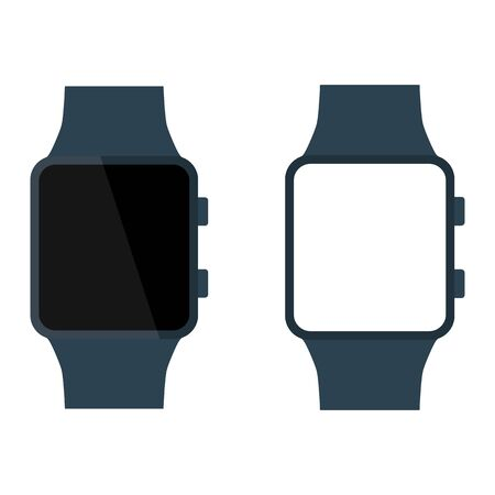 touch screen interface: Modern electrical glossy smart watch with white and black blank screen set. Flat style icon. Raster illustration