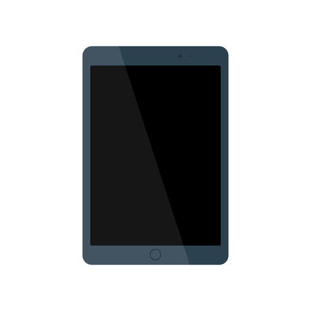 Modern glossy electrical tablet with black blank screen. Flat style icon. Vector illustration Иллюстрация