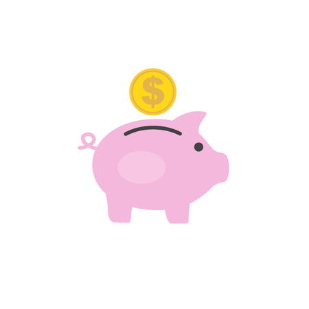 Money box pig with dollar coin inserting in it. Flat style icon. Vector illustration