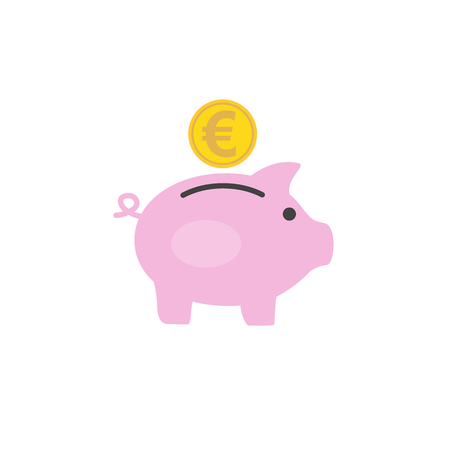 Money box pig with euro coin inserting in it. Flat style icon. Vector illustration Illustration