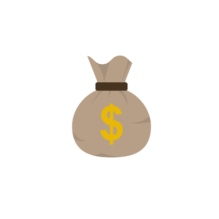 Bag of coins with dollar sign on it. Flat style icon. Vector illustration