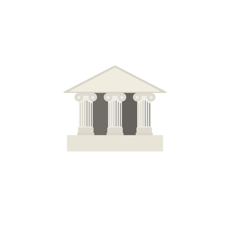 roman column: Flat icon of bank building. Building with pillars. Flat style icon. Vector illustration