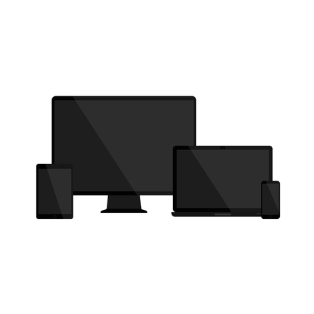 Set of blank screens. Computer monitor, laptop, tablet and smartphone with empty black blank screen. Various modern glossy electronic devices and gadget. Vector illustration