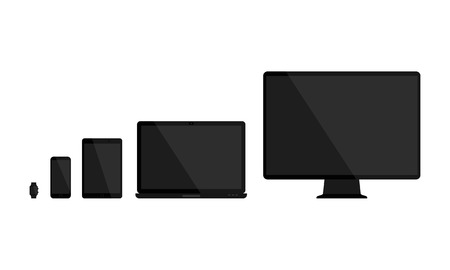 responsive: Set of blank screens. Computer monitor, laptop, tablet, smartphone, smart watch with empty black blank screen. Various modern glossy electronic devices and gadget. Vector illustration Illustration