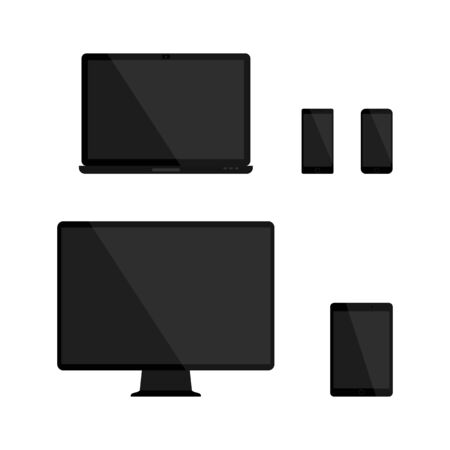 touch screen phone: Set of blank screens. Computer monitor, laptop, tablet and smartphone with empty black blank screen. Various modern glossy electronic devices and gadget. Raster illustration