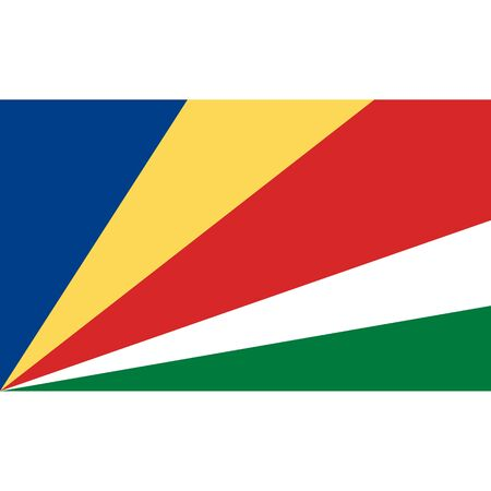 politic: Seychelles flag, official colors and proportion correctly. National Seychelles flag. Vector illustration