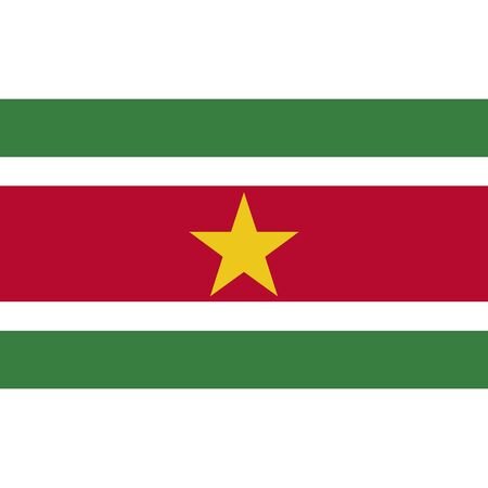 politic: Suriname flag, official colors and proportion correctly. National Suriname flag. Vector illustration