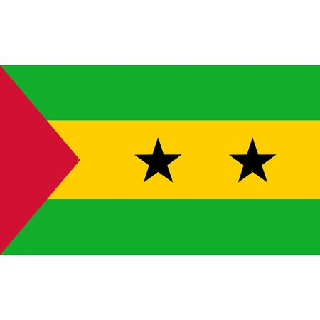politic: Sao Tome and Principe flag, official colors and proportion correctly. National Sao Tome and Principe flag. Vector illustration