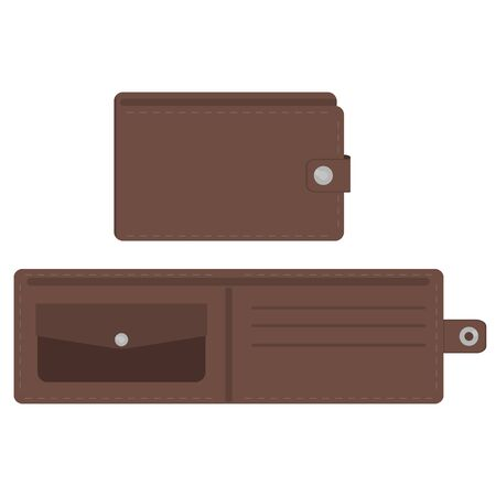 Brown opened and closed empty wallet set. Two views of wallet. Vector illustration