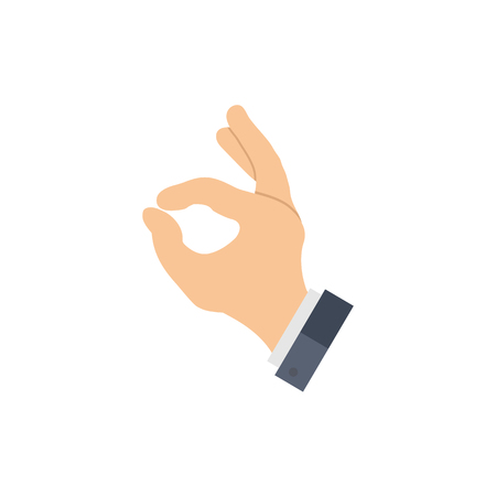 OK sign gesture and sleeve of a jacket. Hand showing ok. Business gesture. Raster illustration