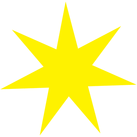 Sacred geometric symbol of seven pointed star plexus. Golden mandala logo. Vector illustration