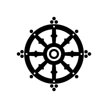 Dharma ruota della fortuna, spiritualità, buddismo simbolo religioso. Illustrazione vettoriale Vettoriali