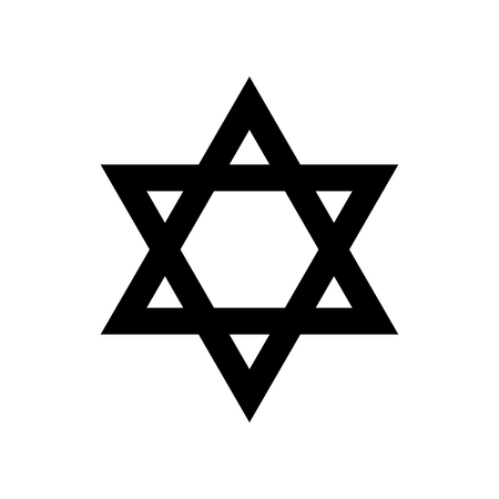 Star of David religious symbol of Judaism. Vector illustration Çizim