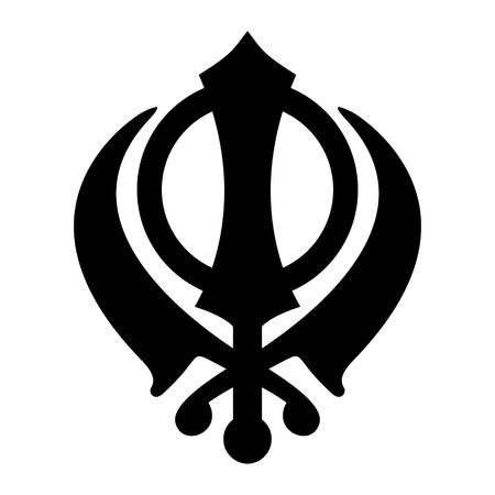 白い背景に孤立した Khanda シーク教のアイコン。黒いシルエット。宗教的な象徴。ベクターイラスト