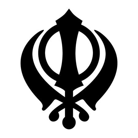 Khanda Sikh icon isolated on white background. Black silhouette. Religious symbol. Vector illustration Illustration